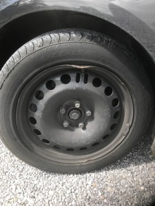 Flat Tire and Bent Tire Rim